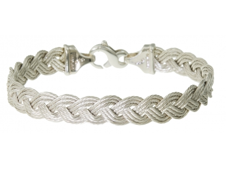 Sterling 9mm Braided Cable Bracelet - Sterling Silver 9mm Flexible Braided Cable Bracelet, 7in.  Call for availability of other sizes.