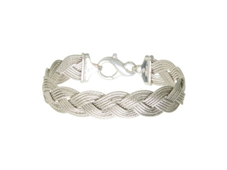 Sterling 14mm Braided Cable Bracelet - Sterling silver 14mm flexible braided cable bracelet, 7in.  Call for availability of other sizes.
