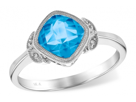 Blue Topaz Ring - 14k white gold swiss blue topaz ring