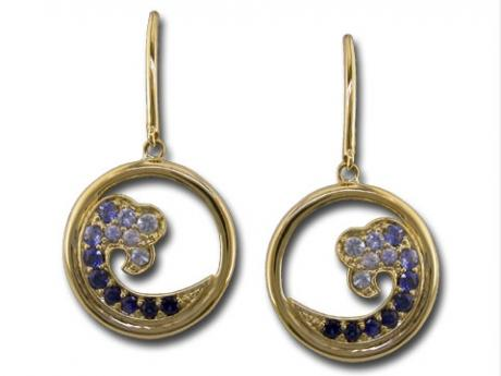Sapphire Wave Earrings - 14ky gold sapphire wave earrings.
