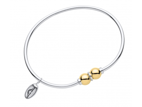 Sterling Silver & 14k Gold Two Ball Bracelet.  Made in Massachusetts.